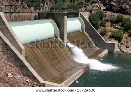 A Hydro-electric dam on the Feather River located along Highway 70 between Oroville and Quincy in northern California. hydro-electric  in California.
