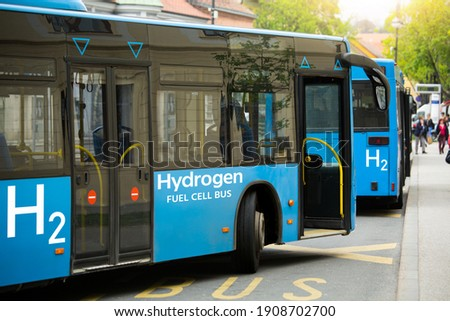 A hydrogen fuel cell buses stands at the bus station ストックフォト ©
