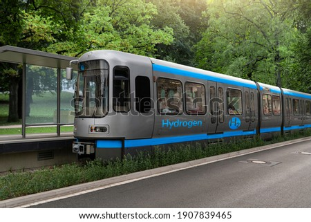 A hydrogen fuel cell train stands at the station stock photo