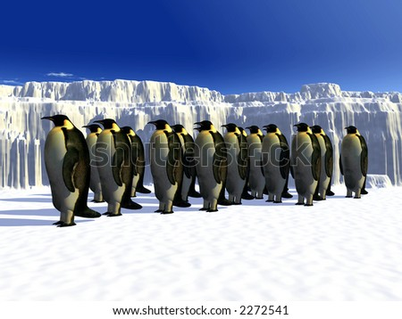 A ice landscape with some penguins on it.