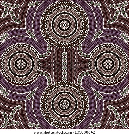 A illustration based on aboriginal style of dot painting depicting four equal