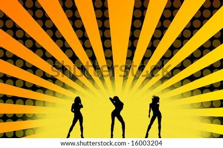 a illustration of dancing girls