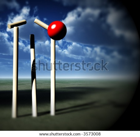 A image of a cricket ball smashing a wicket.