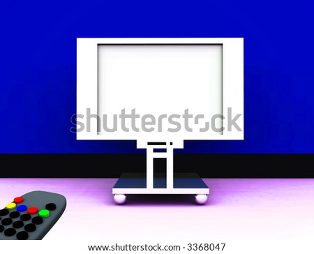 A image of a television remote control and a blank television screen you can fill in.