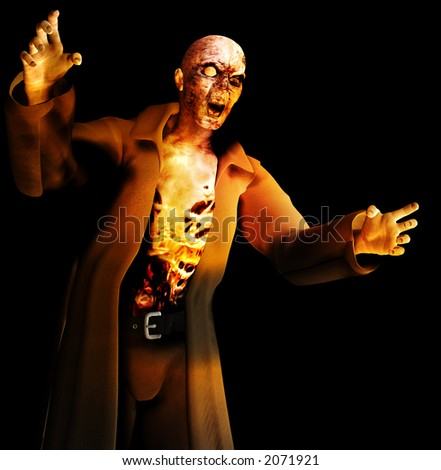 A image of a zombie with a black background.