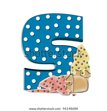 A, in the alphabet set Creamy Treat, is aqua with white polka dots.  Melting ice cream cone sits at base of letter.  Frozen treat has colorful sprinkles.