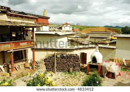 a interior view of a tibetan house on a hillside