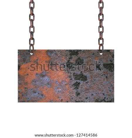 A iron plate hang on chains, 3D