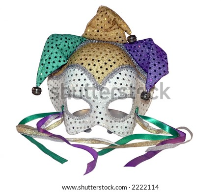 a isolated photo of a carnival mask on a white background