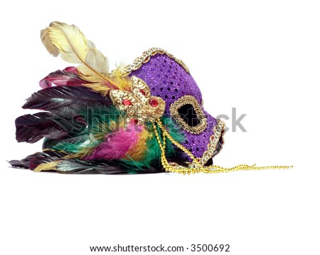 a isolated photo of a carnival mask on a white background. copy and crop space included