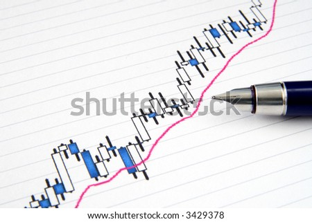 A Japanese candlestick stock chart with shallow focus and a fountain pen.