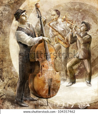 a jazz band on the retro background - stock photo