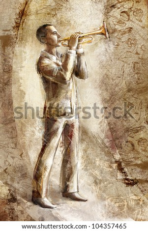 a jazz musician trumpeter on the retro background