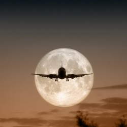 A jet air plane in the moon