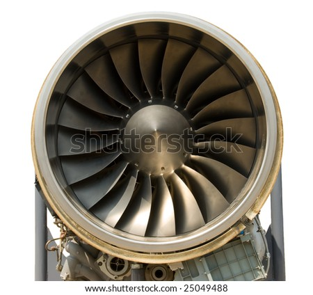 A jet engine - close up, isolated with path