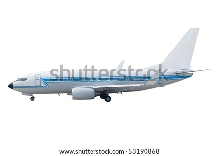 A Jet Passenger Airplane Isolated on White - stock photo