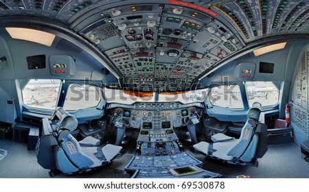 A300 jetliner cockpit wide angle