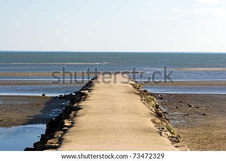 A jetty at the beach extends out into the ocean around low tide.