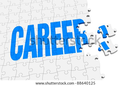 a jigsaw puzzle that form the word career (3d render)