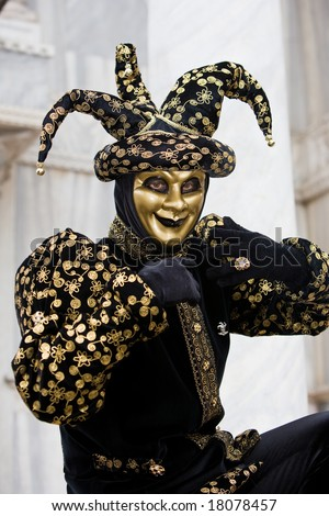 A joker costume at the Venice Carnival