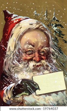 A Jolly Santa Claus with a blank, Christmas greeting card - A Victorian illustration