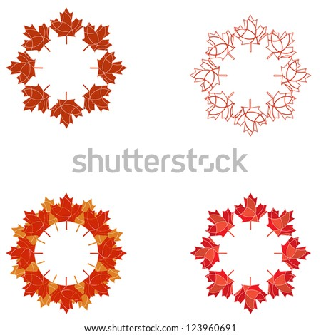 A JPG version of a set of circular Canadian maple leaf design elements