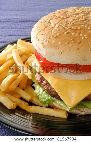A juicy cheeseburger with French fries