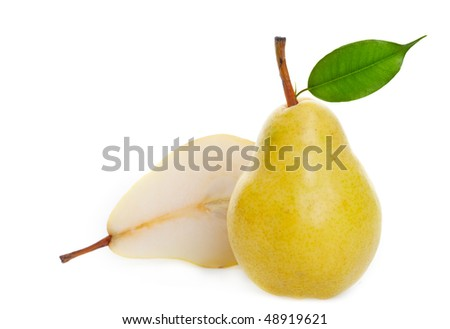 A juicy ripe golden pear studio isolated with soft shadows