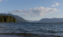A Kayak out on Lake McDonald in Glacier National Park