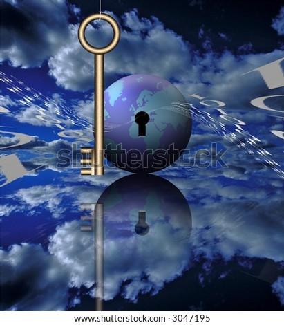 A key, binary code and the globe