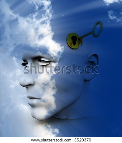 a key unlocking a mans mind, good for images representing imagination ,inspiration,intellect.