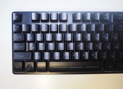 A keyboard with a backlit keyboard. Backlit gaming keyboard, details and close-up