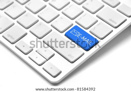 A keyboard with a blue key with the Thumb's e mail icon