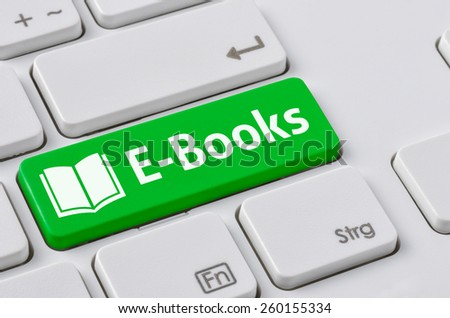 A keyboard with a green button - E-Books #260155334