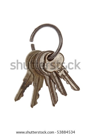 A keychain with a selection of rusty keys.