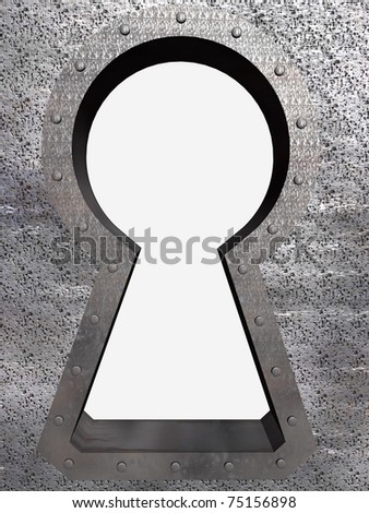 A keyhole in the the door with blank background.