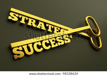 "a keys with words ""strategy"" and ""success"", business concept"