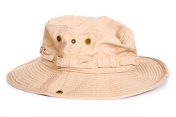 A khaki brown Boonie hat or sun hat on a white background with copy space