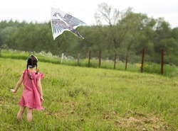 a kid girl in a red dress launches an airborne bird in the form of a bird on the field. back view.