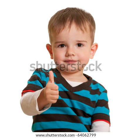A kid is holding his thumb up; isolated on the white background - stock photo