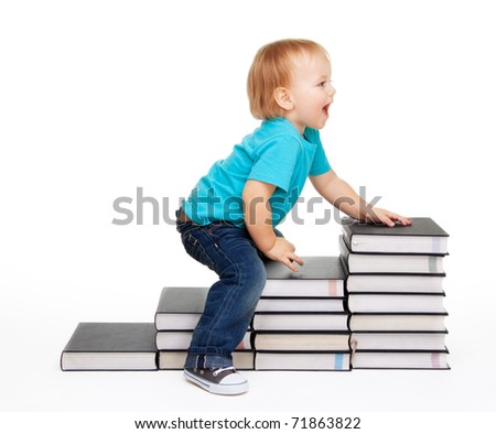 A kid sitting on a steps of books, isolated on white