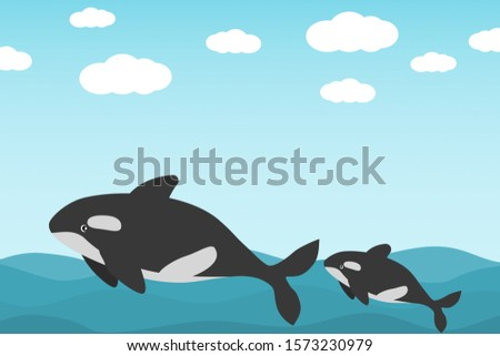 A killer whale and a baby killer whale are swimming happily in the ocean.