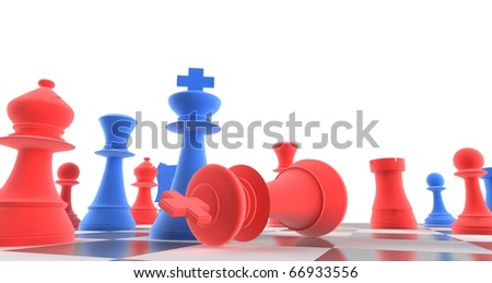 A king chess piece defeating another - blue + red