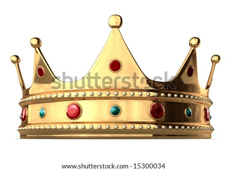 A king's golden crown on a white background. Includes Clipping Path!! - stock photo