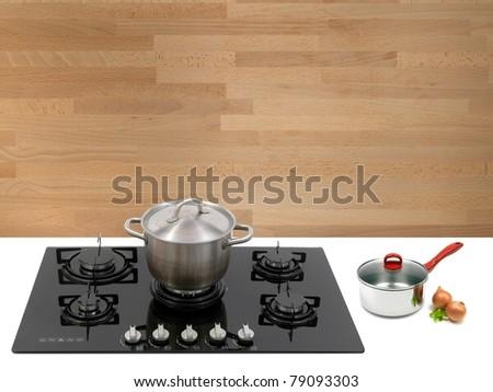 A  kitchen cook top on a kitchen bench