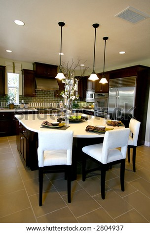 A kitchen interior inside an upscale home