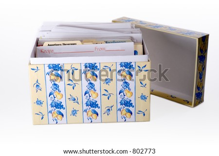 A kitchen recipe box filled with family recipes.