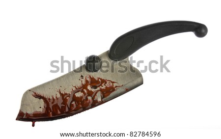 A knife smeared with blood