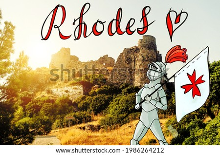 A knight in armour prodly holding a flag with crusader symbol, photograph of Rhodes and lettering style name of the Rhodes island. Explore Greece. Cartoon style Hospitalier near remains of old castle. Zdjęcia stock ©