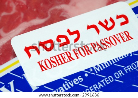 A label that states the meat is kosher for Passover